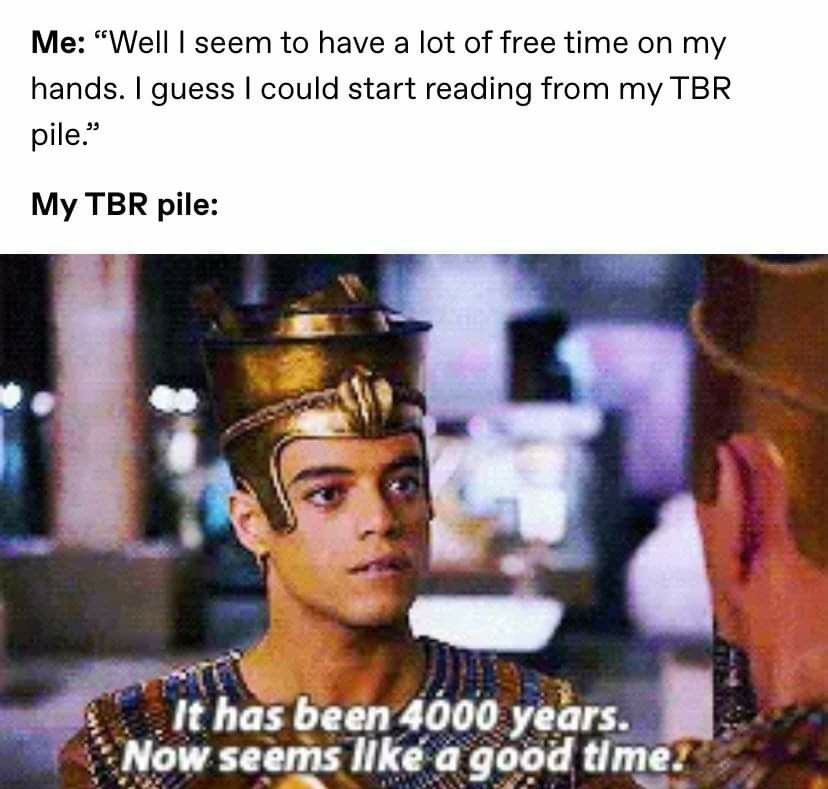 "Meme: Me, ""Well, I seem to have a lot free time on my hands. I guess I could start reading from my TBR pile."" Movie Image ""It has been 4000 years. Now Seems like a good time."""